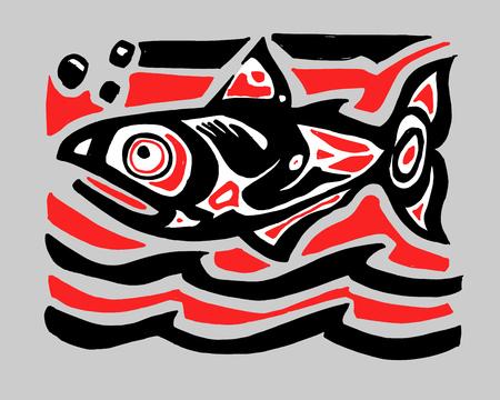 Tiré par la main illustration vectorielle de l & # 39 ; encre ou un dessin d & # 39 ; un poisson gourami Banque d'images - 97056075