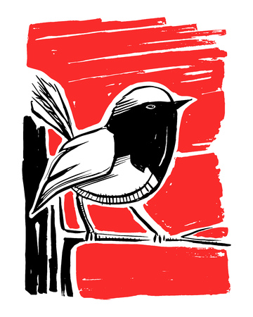 Hand drawn vector ink illustration or drawing of a bird 版權商用圖片