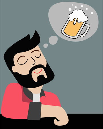 Hand drawn vector illustration or drawing of a cartoon man imagining a beer