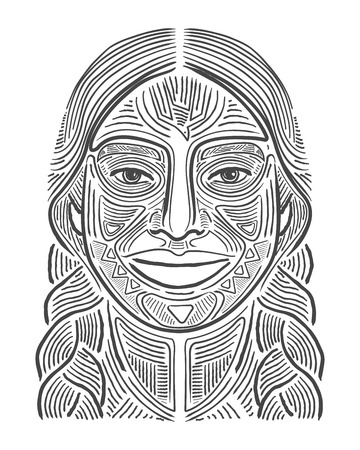 Hand drawn vector illustration or drawing of an indigenous smiling woman
