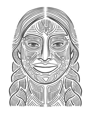 Illustration vectorielle dessinés à la main ou dessin d'une femme souriante indigène