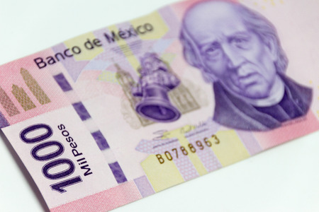 Monterrey, NL Mexico - 04 03 2018: Photograph of a mexican bill of one thousand pesos on a white background