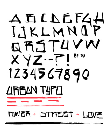 Hand drawn vector ink illustration or drawing of an urban typography 版權商用圖片