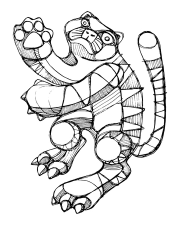 Hand drawn vector illustration or drawing of an abstract cat