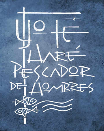 Hand drawn illustration or drawing of a phrase in spanish that means: I will make you fisher of people