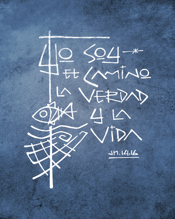 Hand drawn illustration or drawing of a phrase in spanish that means: I am the Way the Truth the Life Stock Photo