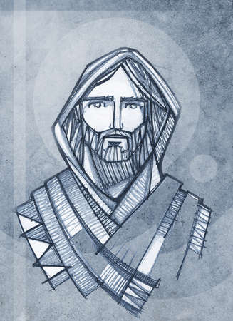 Hand drawn illustration or drawing of Jesus Christ Face Stok Fotoğraf