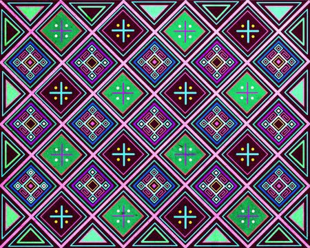 Hand drawn illustration or drawing of an Indigenous ethnic pattern design Stock Photo