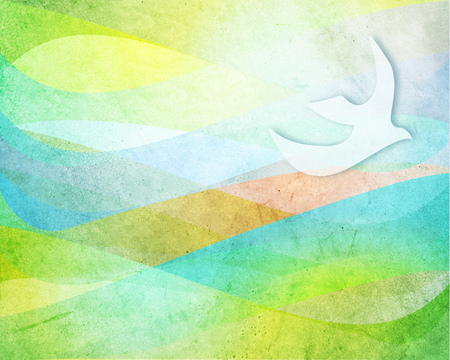 Hand drawn illustration or drawing of some soft color waves and dove bird Stok Fotoğraf
