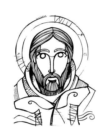 Hand drawn pencil illustration or drawing of Jesus Christ Good Shepherd