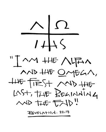 Hand gezeichnete Vektorillustration oder Tuschezeichnung einer religiösen christlichen Phrase Standard-Bild
