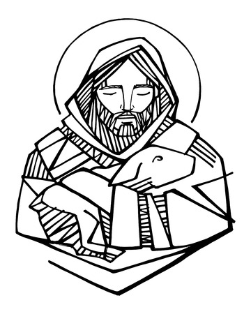 Hand drawn vector illustration or drawing of Jesus Christ Good Shepherd and sheep Stock Illustratie