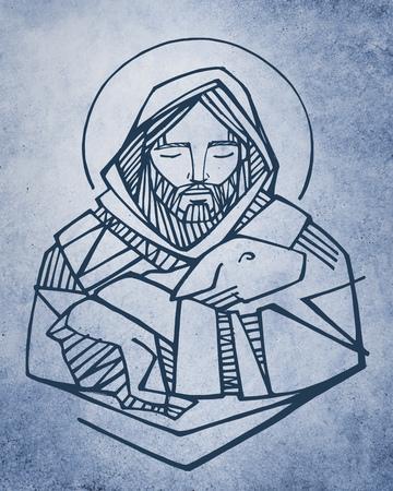 Hand drawn vector illustration or drawing of Jesus Christ Good Shepherd and sheep Stockfoto