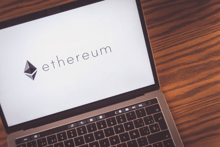 Dallas, Texas United States - 0672018: (Photograph of the Ethereum cryptocurrency logo on computer screen) Publikacyjne