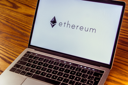 Dallas, Texas United States - 0672018: Photograph of the Ethereum cryptocurrency logo on computer screen