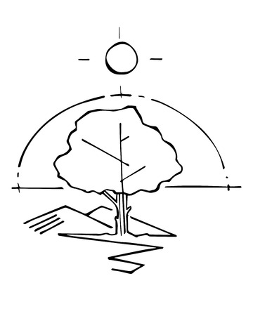 Hand drawn vector illustration or drawing of a tree and a sun symbols