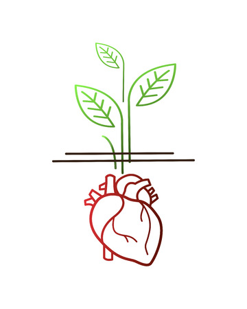 Hand drawn vector illustration or drawing of a human heart and plants