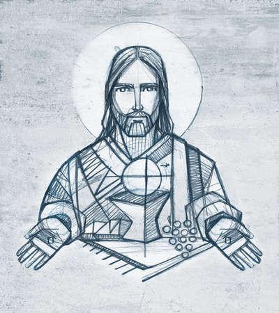 Hand drawn illustration or drawing of Jesus Christ an Eucharist symbols Stok Fotoğraf