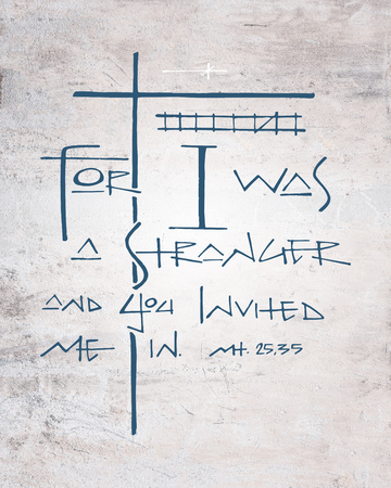 Hand drawn illustration or drawing of the christian religious biblical phrase: For I was a stranger and you invited me in