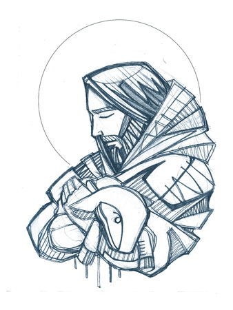 Hand drawn illustration or drawing of Jesus Christ Good Shepherd