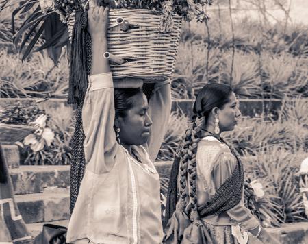 Oaxaca, Oaxaca  Mexico - 2172018: (Indigenous people celebrating the traditional Guelaguetza in Oaxaca Mexico)
