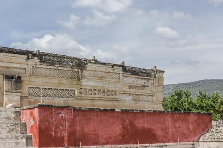 Oaxaca, Oaxaca  Mexico - 2172018: Detail of the ruins of prehispanic Mitla in Oaxaca Mexico Editorial