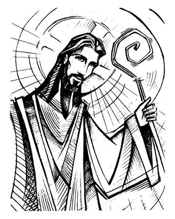 Hand drawn vector illustration or drawing of Jesus Christ Good Shepherd