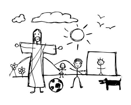 Hand drawn vector illustration or drawing of Jesus Christ playing with children in childish style