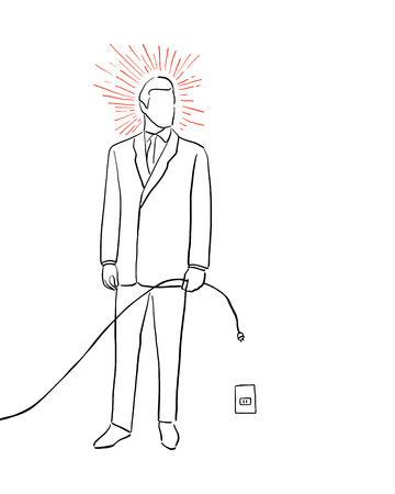 digital illustration or drawing of suited man silhouette with electric cord