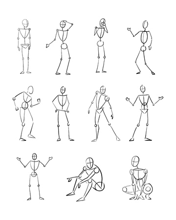 Hand drawn vector digital illustration or drawing of different human body positions