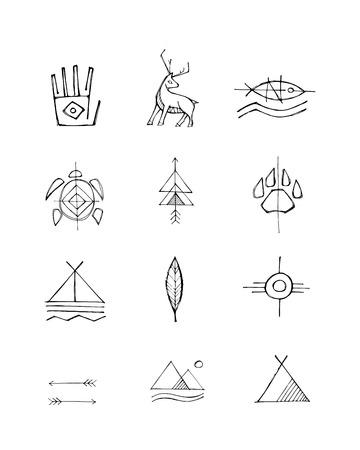 Hand drawn vector illustration or drawing of some native american symbols Ilustração
