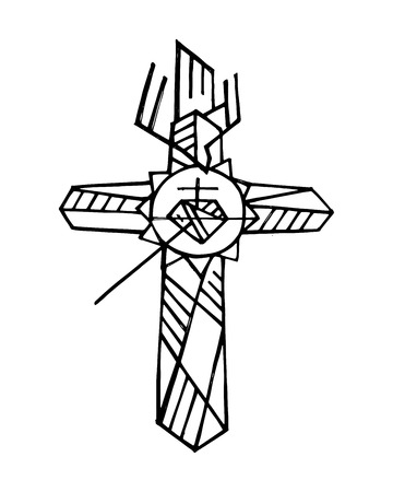 Hand drawn vector illustration or drawing of a religious Cross symbol, the Cross of the Apostolate