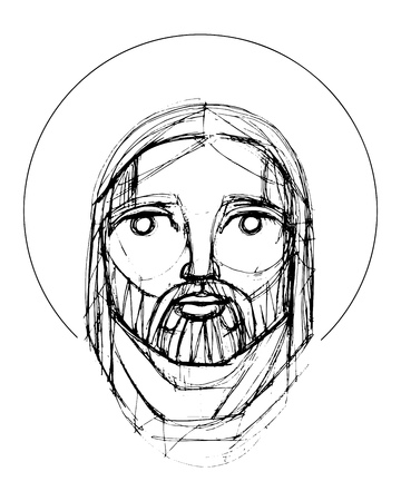 Hand drawn vector pencil illustration or drawing of Jesus Christ Face in an indigenous style
