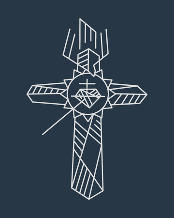 Hand drawn illustration or drawing of a religious Cross symbol, the Cross of the Apostolate Stock Photo