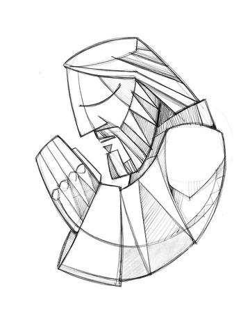 Hand drawn pencil illustration or drawing of Jesus Christ praying Stock Photo