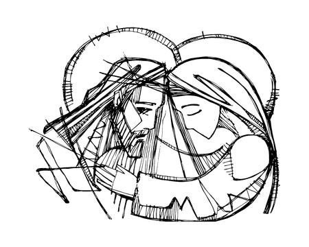 Handgezeichnete Vektorgrafik oder Zeichnung von Jesus Christus bei seiner Passion