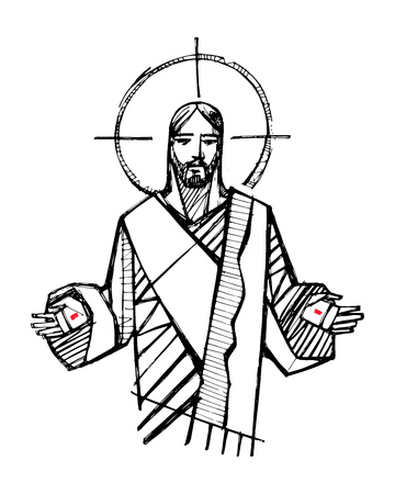 Hand drawn vector illustration or drawing of Jesus Christ with open hands