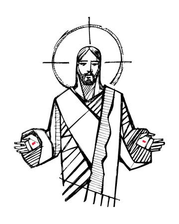 Illustrazione vettoriale disegnata a mano o disegno di Gesù Cristo con le mani aperte