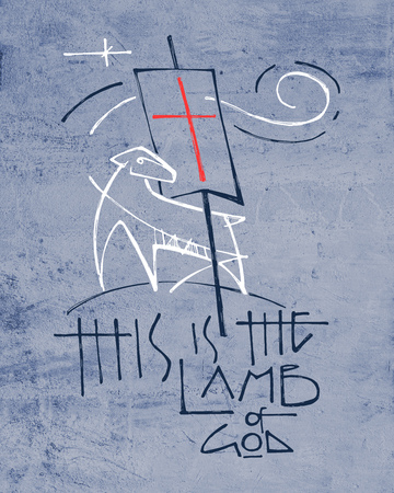 Hand drawn illustration or drawing of a Lamb representing Jesus Christ and religious phrase: This is the Lamb of God