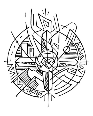 Hand drawn vector illustration or drawing of a religious christian symbol