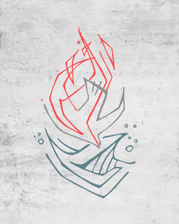 Hand drawn illustration or drawing of a Holy Spirit symbol
