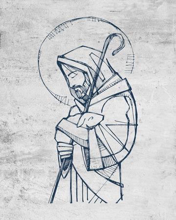 Illustrazione disegnata a mano o disegno di Gesù Cristo Buon Pastore Archivio Fotografico