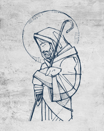 Ilustracion dibujada a mano o dibujo de Jesucristo Buen Pastor Foto de archivo