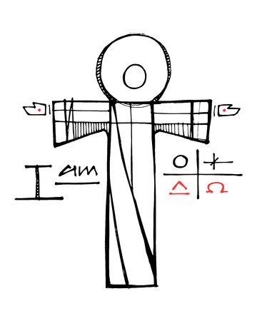 Hand drawn vector illustration or drawing of Jesus Christ, some Christian symbols and the prahse: I am