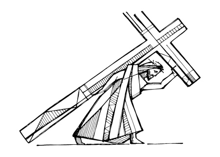 Hand drawn vector illustration or drawing of Jesus Christ carrying the Cross 스톡 콘텐츠