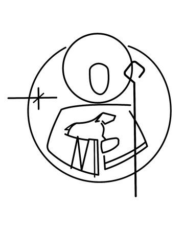 Vector illustration or drawing of Jesus Christ Good Shepherd symbol