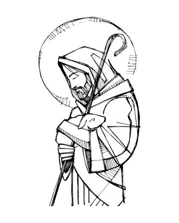 Illustration vectorielle ou dessin de Jésus Christ Bon Pasteur Vecteurs