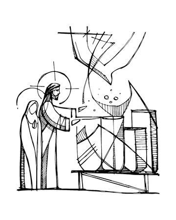 Vektorgrafik oder Zeichnung von Jungfrau Maria und Jesus Christus, die das Wunder machen, Wasser in Wein zu verwandeln