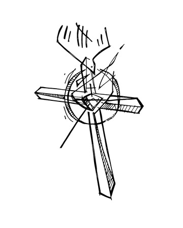Hand drawn vector illustration or drawing of a religious ink christian Cross symbol