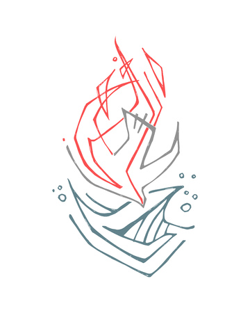 Hand drawn vector illustration or drawing of a Holy Spirit symbol